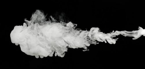 white smoke cloud on black background