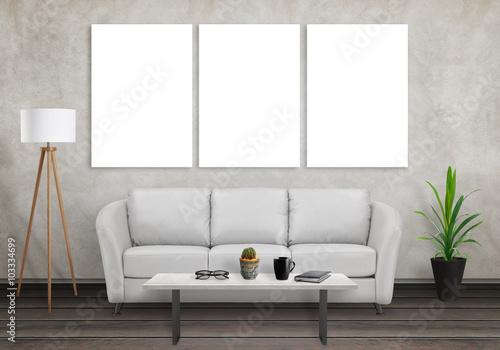 Mock up of three wall art canvas. Sofa, lamp, plant, glasses, book ...