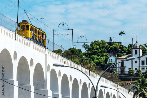 Photo  Yellow Train under the Lapa district in Rio de Janeiro, Brazil