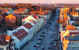 Fototapeta Uliczki - Aerial view of the Old town district. Klaipeda city in the evening time. Klaipeda, Lithuania.