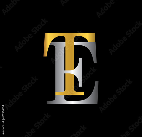 Photo  TE initial letter with gold and silver