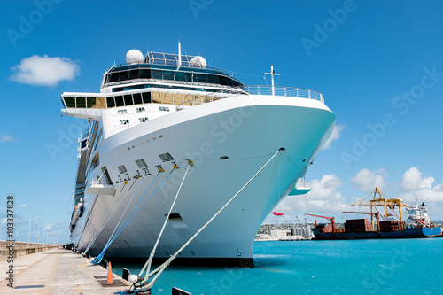 Cruise ship docked at the pier. Wallpaper Mural