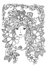 Beautiful face and flowers doodle in black and white