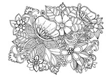 Black And White Floral Doodle For Adult Coloring Book