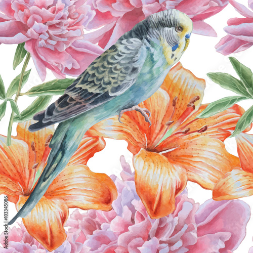 Seamless pattern with flowers and parrot. Fotomurales