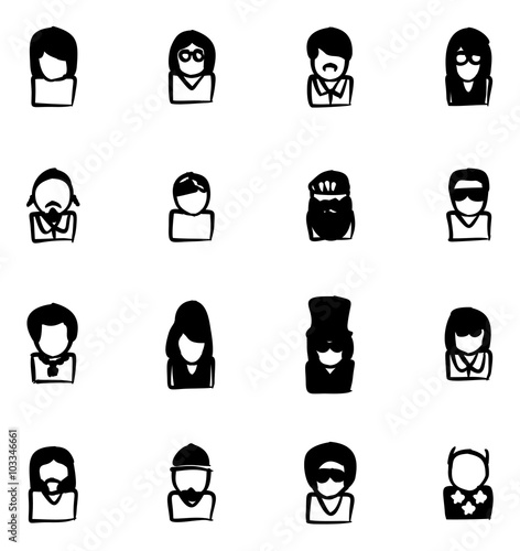 Avatar Icons Famous Musicians Set 2 Fill Wallpaper Mural