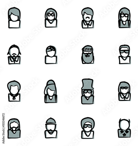 Avatar Icons Famous Musicians Set 2 Freehand 2 Color Fototapet