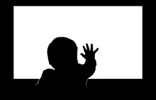 Little Toddler Touching Blank Television Screen With His Hand. Easy Editable Layered Vector Illustration.