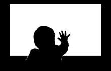 Little Toddler Touching Blank ...