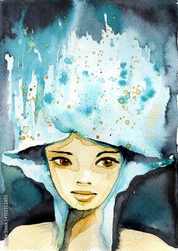 Aluminium Prints Painterly Inspiration Abstract watercolor illustration depicting a portrait of a woman.
