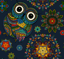 Seamless Pattern From Ornamental Color Owl With Flowers And Mandala. African, Indian, Totem, Tattoo Design. It May Be Used For Design Of A T-shirt, Bag, Postcard, A Poster And So On.