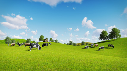 Springtime rural scenery with a herd of cows grazing on the green meadows. Realistic 3D illustration.