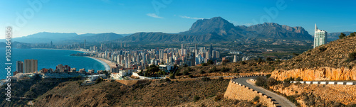 Panoramic view to the Benidorm city. Spain