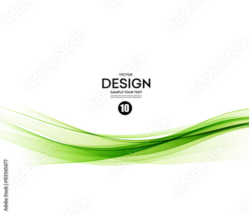 Abstract vector background, green wavy