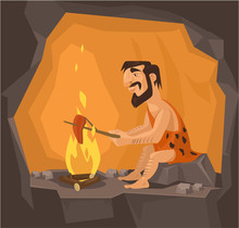 Caveman Is Cooking In Cave. Ve...