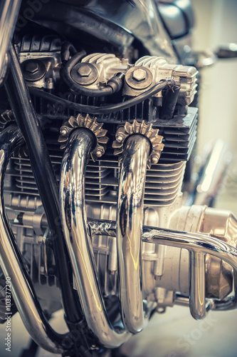 Aged motorcycle engine detail