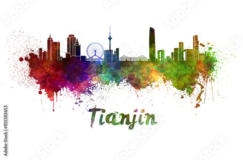 Платно  Tianjin skyline in watercolor splatters with clipping path
