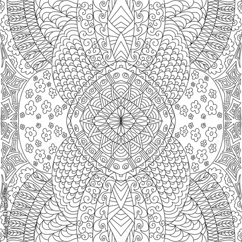 Decorative seamless black and white floral coloring page Wallpaper Mural