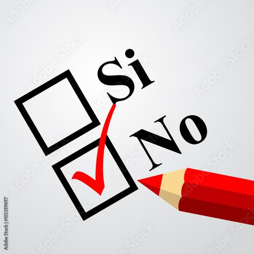Foto  Icono plano elegir no en español.