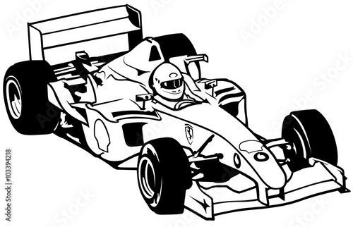 Formula One - Driver And Racing Car Illustration, Vector - 103394218