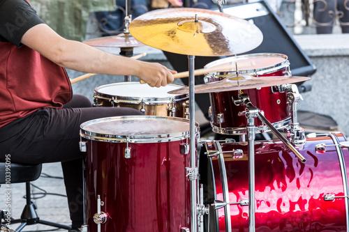 Foto op Canvas Muziekwinkel drummer on the open air rock concert