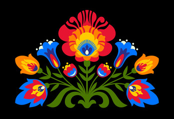 Polish folk inspired flowers on black background
