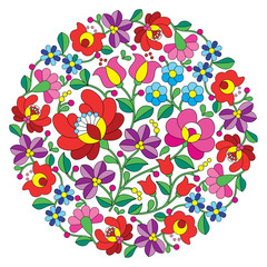Naklejka Folklor Kalocsai folk art embroidery - Hungarian round floral folk pattern