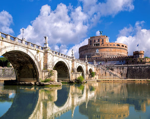 Fototapeta Rzym Angel Castle with bridge in Rome, Italy