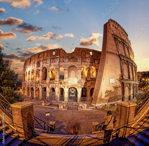 Colosseum in the evening, Rome, Italy Canvas Print