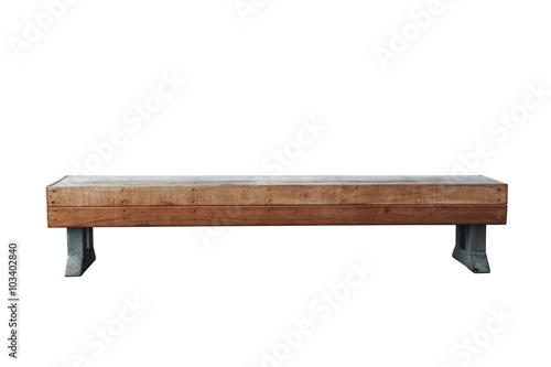 Canvas old vintage wood bench against white background