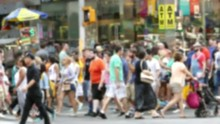 New York City Crowd Walking Street Times Square Blurred Motion Manhattan Pedestrians Tourism USA Lifestyle People Famous Footage Tourists