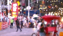New York City Street Crowded Times Square Manhattan Night Illuminated USA Footage People Busy Transportation Road Tourists