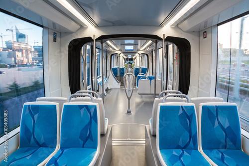 New modern tram in Dubai, UAE