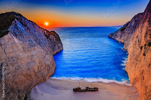 Sunset, Shipwreck bay, Navagio - Zakynthos, Greece