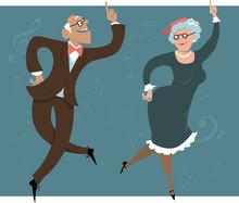 Senior Couple Dancing Swing Or Big Apple, Vector Illustration, EPS 8