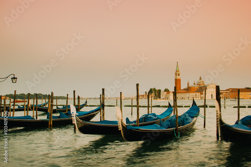 Staande foto Venice Gondolas moored by Saint Mark square with San Giorgio di Maggiore church in the background - Venice, Venezia, Italy, Europe