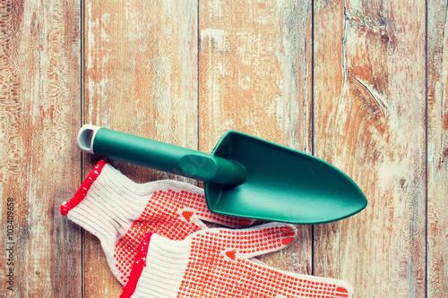 Fototapeta close up of trowel and garden gloves obraz