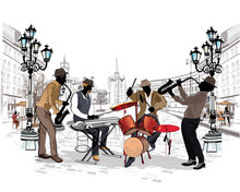 Street Musicians In The City.