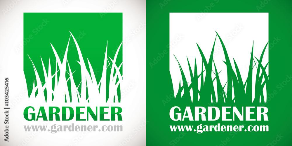 Fototapety, obrazy: logo paysagiste pelouse herbe vert