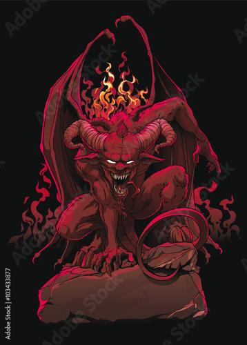 Devil on Hell Stone Wallpaper Mural