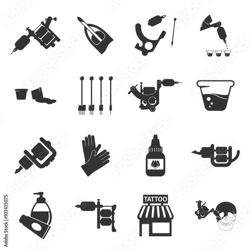 Tattoo, parlor, machine 16 black simple icon Wallpaper Mural