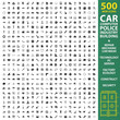 Car, automobile, vehicle set 500 black simple icons. Machine, repair, mechanic icon design for web and mobile.