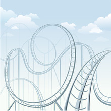 Rollercoaster In Theme Park Illustration
