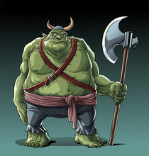 Big Fat Troll With Axe In Standing Pose.
