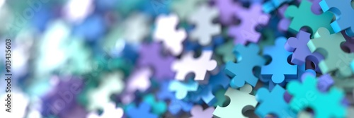 Fotografie, Obraz  Jigsaw background, conceptual 3d illustration, teamwork and corporate theme