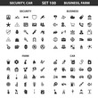 Security,car set 100 black simple icons.Business, farm icon design for web and mobile.