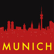 Abstract Munich skyline, with various landmarks