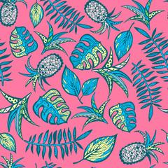 Naklejka Cartoon tropical pattern