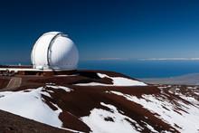Observatory Domes At The Peak Of Mauna Kea Volcano