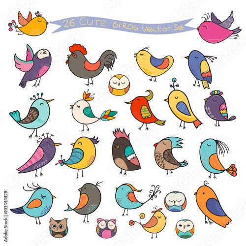 Fotografie, Tablou  Set of 26 cute birds in vector. Cartoon collection
